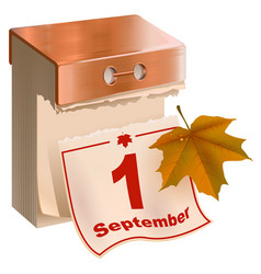 September 1 began fall tear-off calendar and vector