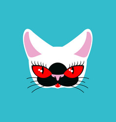 siamese cat face isolated pet on green background vector image