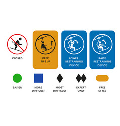 ski lift manuals trail difficulty levels signs vector image vector image
