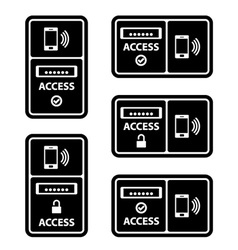 Smartphone nfc access panel black symbol vector