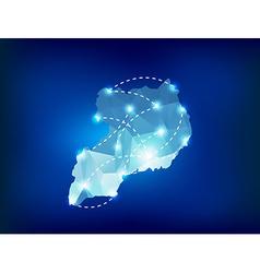 Uganda country map polygonal with spot lights vector image vector image