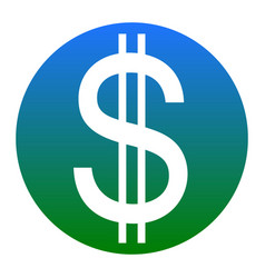 United states dollar sign white icon in vector