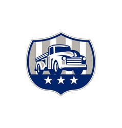 Vintage pick up truck usa flag crest retro vector