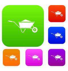 Wheelbarrow with sand set collection vector