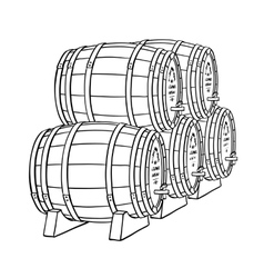 Wine or beer barrels vector