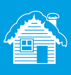 wooden house covered with snow icon white vector image vector image