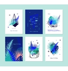 Set of card with tropical elements and crystals vector