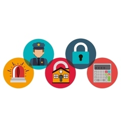 House policeman alarm and padlock design vector