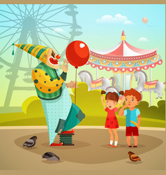 amusement park circus clown flat vector image