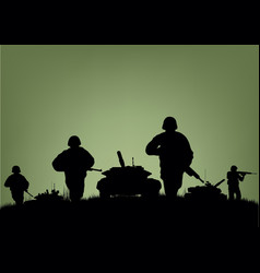 Soldiers on the performance of combat operations vector