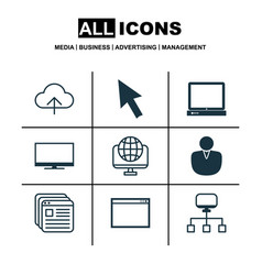 Set of 9 internet icons includes account local vector