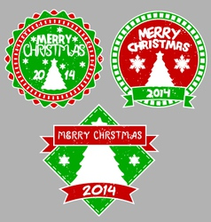 Tree xmas badges vector
