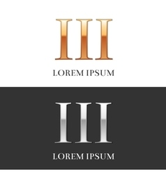 3iii luxury gold and silver roman numerals sign vector