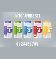 5 steps process infographics card design vector
