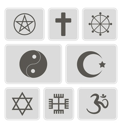 Monochrome icons with religious symbols vector