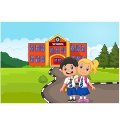 Two happy students standing in front of school bui vector
