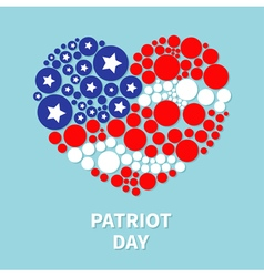 Round dot heart flag star and strip patriot day vector