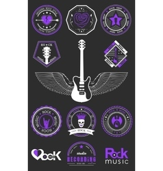 Set badges of rock music and rock and roll vector