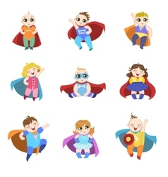 Babies dressed as superheroes set vector