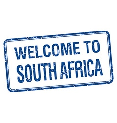 Welcome to south africa blue grunge square stamp vector