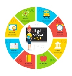 Back to school circle infographics vector
