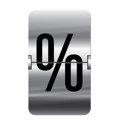 Alphabet silver flipboard letters percent vector