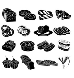 Bakery food icons set vector image