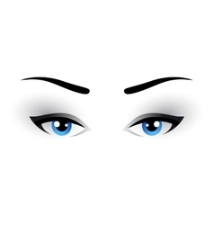 Blue woman eyes makeup vector
