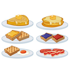 breakfast menu on the plates vector image vector image