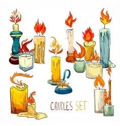 Candle set icons vector image vector image