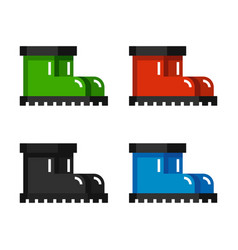 colorful rubber boots icons vector image