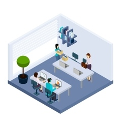 Coworking people environment office isometric vector