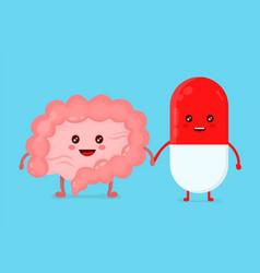 cute funny smiling pill healthy happy intestines vector image vector image