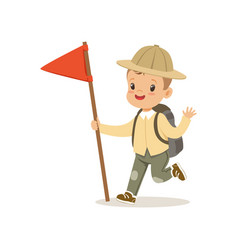 Cute little boy in scout costume with backpack and vector