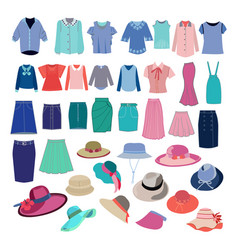 Different fashion cloth and accessories collection vector