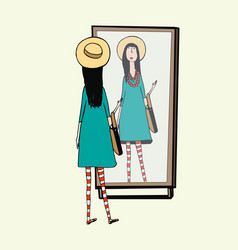 fashionable girl looks in mirror woman with vector image vector image