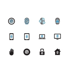 Fingerprint duotone icons on white background vector