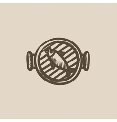Fish on grill sketch icon vector image