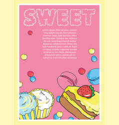 flyer on the theme of food and sweets on pink vector image