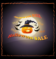 full moon pumpkin hat bat and words halloween vector image