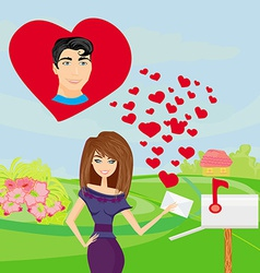 girl and a love letter vector image