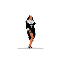 Girl wearing a nun outfit vector