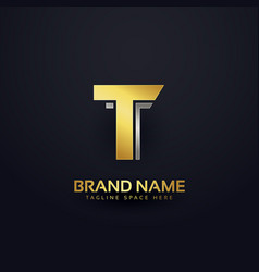 golden letter t logo concept design template vector image
