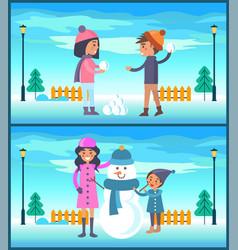 happy boy and girl play snowballs makes snowman vector image vector image