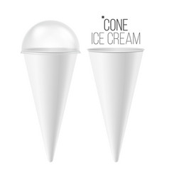 Ice cream cone mock up 3d realistic blank vector