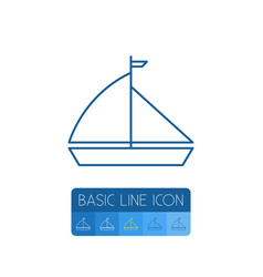 isolated yacht outline boat element can be vector image