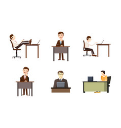man at desktop icon set cartoon style vector image
