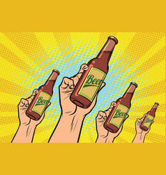Many hands with a bottle of beer vector