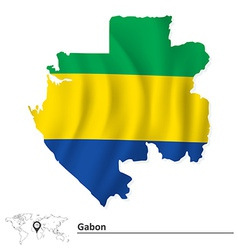 Map of Gabon with flag vector image vector image