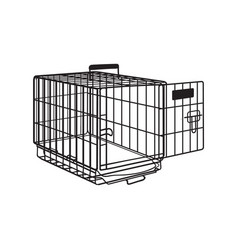 Metal wire cage crate for pet cat dog vector